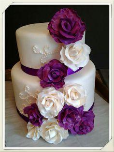 Purple and white rose wedding cake https://www.facebook.com/roartasticdesserts/