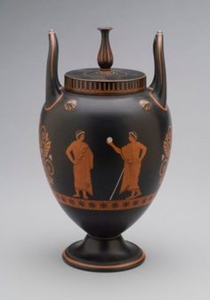 Vase and Cover, c. 1805 basalt ware with encaustic decoration Wedgwood