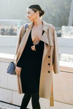 Black deep V and camel coat