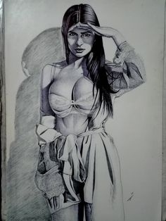 Sexy Drawings, Pencil Art Drawings, Art Drawings Sketches, Figure Sketching, Figure Drawing, Evvi Art, Woman Drawing, Woman Sketch, Chicano Art