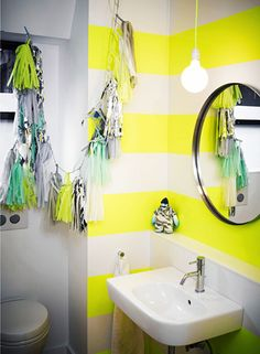 Preppy bathroom ideas  Neon stripes is a great way to make your bathroom pop!   // Statement Bathrooms