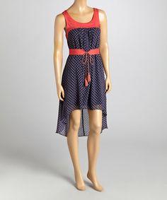 Look what I found on #zulily! Navy & Red Geometric Scoop Neck Dress #zulilyfinds