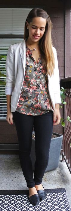Jules in Flats H&M Blazer and Printed Blouse