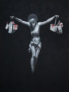 Image: Christ with Shopping Bags by Banksy is an example of how the artist explores street art and graffiti art to make statements about salient issues. Banksy Art