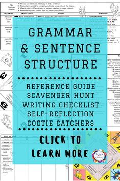 Teach or review grammar and sentence structure with these highly-engaging writing activities for high school English language arts students. Detailed sentence fluency guide as well as writing style checklist which highlights ways to combine sentences, ways to write with sentence variety, and ways to create sentence rhythm. #teachingstrategies #elaclassroom #classroomtechnology #elateachingstrategies #grammarinstruction