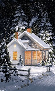 """Cozy winter home // If you click the """"GIF"""" button, the snow falls! Winter Szenen, Winter Magic, Winter Night, Winter Time, Winter House, Snow Night, Winter Ideas, Winter Pictures, Christmas Pictures"""