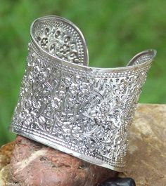 Sterling silver cuff bracelet, 'Princess' NOVICA. $224.79. Normally ships directly from Thailand within 10 days.. A fair trade product. Handmade by Ploy Intha.. Save 63%!