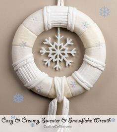 How to DIY a cozy, winter sweater wreath. Great project for repurposing old sweaters. CraftsnCoffee.com.