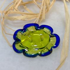 Cobalt and Green 2 Hole Lampwork Button by fragiacomoglassart, $12.00