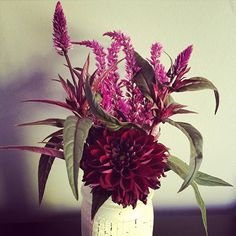 Moody flowers in a repurposed vase...  from Greenhouse 17 in Lexington, KY! #kentucky #localflowers