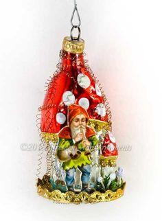 Victorian Gnome on Mid-Century Amanita by DresdenStarOrnaments