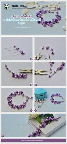 Violet Flower Bracelet with Pearl Beads - Do you like violet? Just need some viotet pearl beads and acrylic flower beads, you can make an amazing violet bracelet! Jewelry Clasps, Beaded Jewelry, Handmade Jewelry, Beaded Bracelets, Jewellery, Do It Yourself Jewelry, Diy Jewelry Tutorials, Diy Schmuck, Bijoux Diy