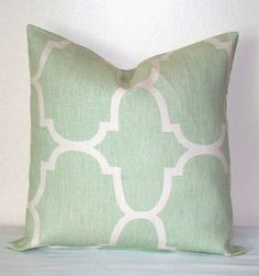 Seafoam Green and White Moroccan 18 inch Decorative Pillows Accent Pillow throw Pillow Cushion Cover via Etsy