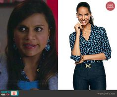 Mindy's blue heart print shirt on The Mindy Project.  Outfit Details: http://wornontv.net/41337/ #TheMindyProject