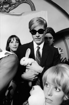 1965 - Andy Warhol, Catherine Deneuve, Edie Sedgwick and Easter Bunnies! Photo by Jean Jacques Bugat. °