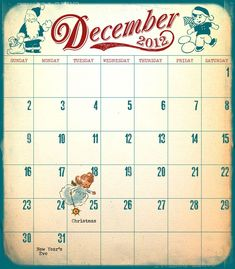 Love this free printable vintage December Calendar for December Daily from Marie @StitchinTime
