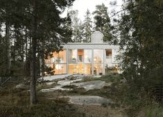 Concrete and glass house in a Swedish wood by Arrhov Frick