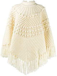 Ponchos tejidos a palitos Wool Poncho, Knitted Poncho, Saint Laurent, Ladies Poncho, Knitwear Fashion, Designing Women, Jackets For Women, Cardigans, Sweaters
