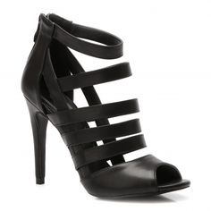 Black High Heels Sandals With Stripes