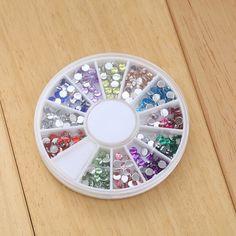 Hotsale girls fai da te rotonda della resina ruota nail art glitter strass decorazione delle unghie manicure forniture chiodo fette