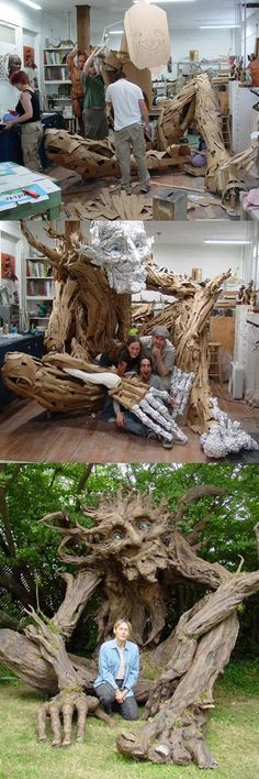 Seattle sculptress Kim Graham and her team made this amazing troll sculpture out of reclaimed lumber, discarded cardboard, and papier mache.: