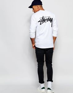 Image 4 of Stussy Long Sleeve T-Shirt With Back Print
