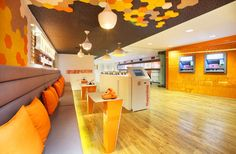 ING bank also partnered with design consultancy Allen International to create… Commercial Interior Design, Commercial Interiors, Bank Branch, Interactive Walls, Brand Store, Lounge Areas, Kiosk, Retail Design, Store Design