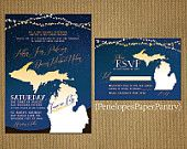 Michigan Themed Summer Evening Wedding Invitation. Navy and Yellow, Stars, Strings of Lights. RSVP Card. Customizable with White Envelopes.