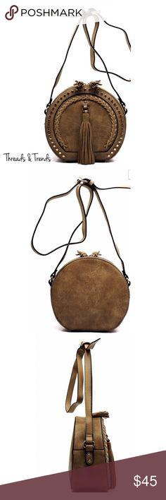 Crossbody Tassel Saddle Bag Fashion Tassel Round Saddle Crossbody Bag Faux Leather Zip Top Closure Adjustable Shoulder Strap 8.5(L) X 8(H) X 4(W) Threads & Trends Bags Crossbody Bags