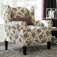 Georgia Accent Chair from Bassett. Two of these are now mine in an ivory herringbone pattern. Can't wait for them to arrive!