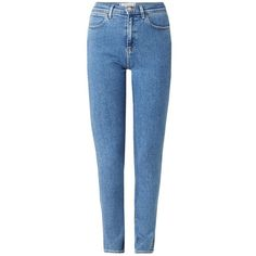 Wrangler Body Bespoke high rise skinny jeans met gebleekte wassing ❤ liked on Polyvore featuring jeans, pants, highwaist jeans, blue jeans, high-waisted skinny jeans, skinny fit jeans and high-waisted jeans