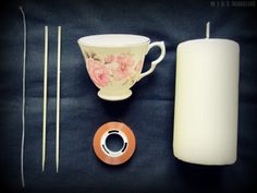 DIY: teacup candle   Buy cheap or use recycled wax, grate wax to break it down, microwave to melt & pour into cup with wick.