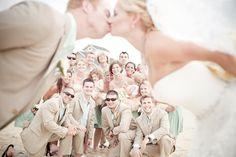Photo bombed! Jennette's Pier Wedding / Outer Banks Wedding / Photo by Julie Dreelin's Beach Productions http://www.jennettespier.net/rent-the-pier  #jennettespierwedding #outerbankswedding #obx