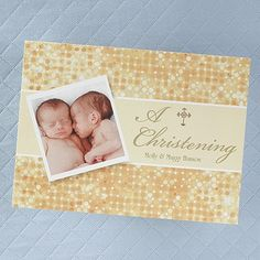 Invite your friends and family to your babies glistening Christening with this dazzling, dual sided invitatio