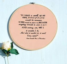 Happy Friday everyone. Do you ever get the feeling life is just no sense sometimes? Well I think this Album cue in Wonderland quote sums it all up beautifully.  Have a fabulous Friday X.  All designs copyright Lisa Marie Olson - Tigerlily Makes. Registered & Protected by ACID (anti copying in design). #embroidery #embroideryart #embroideryhoop #alice #aliceinwonderland #aliceembroidery #aliceembroideryquote #fairyart #fairyhoop #fairyfabric #fairyembroidery #icecream #icecreamembroidery…