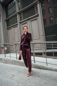 Monochrome burgundy vinyl pants and sweater (Song of Style) Burgundy Outfit, Burgundy Shoes, Burgundy Fashion, High End Fashion, Love Fashion, Womens Fashion, Fashion Trends, Fashion Bloggers, Style Fashion