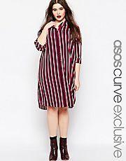 ASOS CURVE Button Through Shirt Dress in Stripe