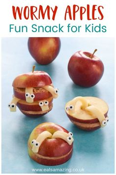 Fun and easy snack idea for kids - these wormy apples are great for after school snacks or fun healthy party food Food Art For Kids, Good Healthy Snacks, Healthy Meals For Kids, Healthy Snacks For Kids, Easy Snacks, Kids Meals, Protein Snacks, Healthy Breakfasts, High Protein