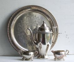 Vintage Silver Plated Tea Set Teapot Tray Cream by redtruckdesigns