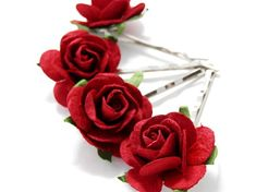 Small Red Rose Floral Hair Pin Set/ Traditional/ Bridal/