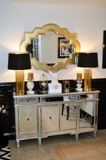 Black and Gold Glamour - contemporary - miami - by Nicole White Designs Inc Black And Gold Living Room, Silver Living Room, Silver Bedroom, Living Room Decor, Bedroom Decor, Bedroom Ideas, Black White And Gold Bedroom, Bedroom Black, Dining Room