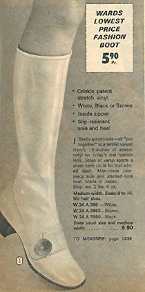 Crinkle vinyl shoe-style boots popular in the early 1970s. From Montgomery Ward catalog