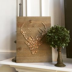 Deer Head created using mini wood slices - DIY Home Decor wood pallet projects featuring Jillibean Soup Mix the Media wood plank surfaces