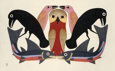 Owl's Consort (2012) by Kenojuak Ashevak, Inuit artist (CD2012-03)