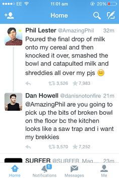 "Its so cute when they talk through each other through twitter<<<BUT WE ALSO BEED TO ADDRESS """" BREKKIES"""" AMIRITE"