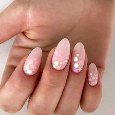 Bright Matte Nails For Summer Decorated With Confetti #almondnails #mattenails #nudenails #confettinails ❤️ We have collected the freshest nail designs for summer 2018. Opt for vibrant colors and design to look super cool. ❤️ See more: https://naildesignsjournal.com/nail-designs-for-summer/ #naildesignsjournal #nails #nailart #naildesigns #summernails #nailsforsummer #brightnails