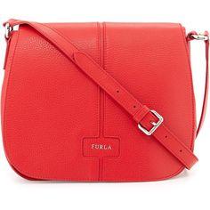 Furla Manola Crossbody Bag (102.475 HUF) ❤ liked on Polyvore featuring bags, handbags, shoulder bags, pebbled leather handbag, furla shoulder bag, furla handbags, red crossbody handbags and crossbody flap purse