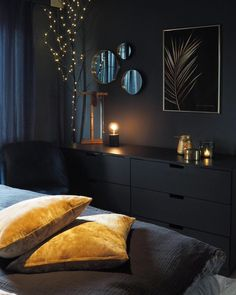 Home Interior Wall .Home Interior Wall Blue Bedroom, Bedroom Colors, Home Decor Bedroom, Bedroom Color Schemes, Bedroom Furniture, Black Rooms, New Room, Home Remodeling, Interior Design
