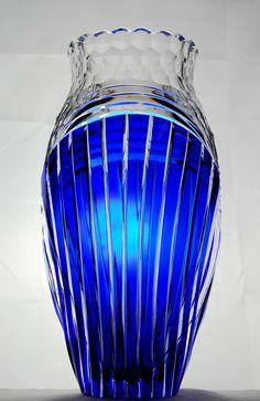 Crystal Vases | Val St. Lambert Cobalt and Clear Cut-Crystal Vase