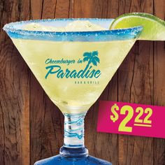 Join us on 2/22 National Margarita Day and enjoy $2.22 classic Margaritas all day long! Enjoy the deliciousness of Margaritaville Gold Tequila and triple sec with a blend of fresh citrus juices served your way – frozen, on the rocks or one of each! http://www.cheeseburgerinparadise.com/promotions/margaritaday